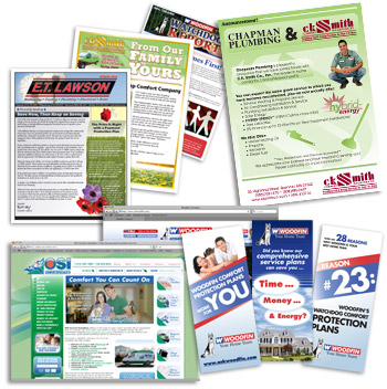 newsletters, brochures, web sites, bill inserts